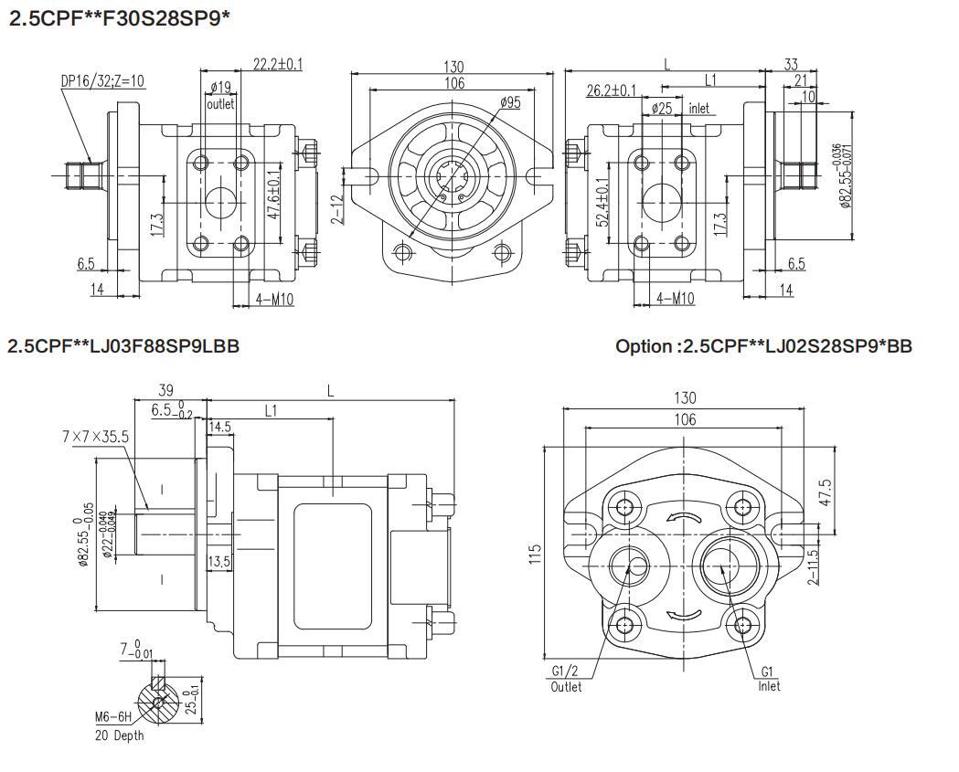 2.5CPF** Dimensions