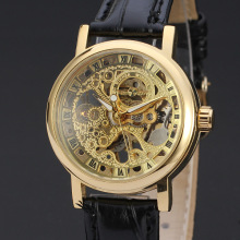 luxury golden vintage watch for men classical skeleton dial design