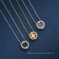 European American Jewelry Diamond Green Red Blue White Crystal Smart Pendant Clavicle Chain Gift Thin Chain Necklace for Women
