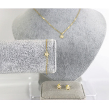 s925 sterling silver charm jewelry set star gold-plated necklace bracelet earrings