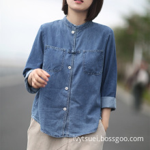 Women Denim Cotton Long-sleeved and Loose-fitting Blouses