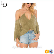 china clothing factory wholesale sexy ladies blouse back neck design Tie Neck Cold Shoulder Chiffon Blouse