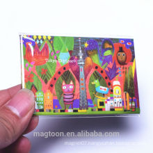 2016 most popular oil painting carton scenery style tin plate fridge magnets for kids