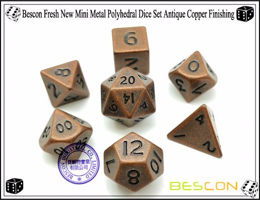 Bescon Fresh New Mini Metal Polyhedral Dice Set Antique Copper Finishing-4
