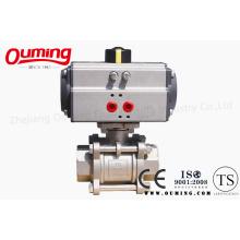 Válvula de esfera pneumática do aço inoxidável de 3 PC