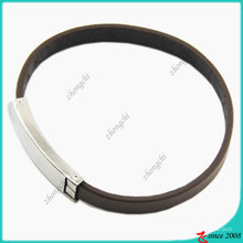Fashion Jewelry Simple Black Genuine Leather Bracelet (LB)