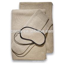 PK18ST001 100% Cachemire câble voyage ensemble avec couverture, masque pour les yeux, chaussettes, transporter / taie d'oreiller