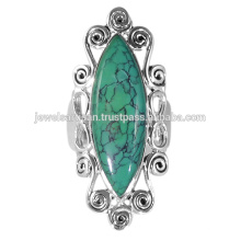 Newest Design Tibetan Turquoise Gemstone 925 Sterling Silver Ring