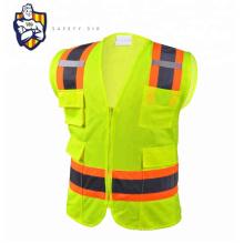 Custom Men's High quality, sleeveless, contrast color, multi pocket, zipper, engineering reflective safety vest