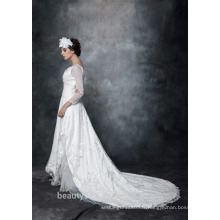 A-line Scoop Neck Satin Over Net Avec Broderie Robe De Mariée Lace With Crystal 3/4 Sleeve Wedding Dress AS29402