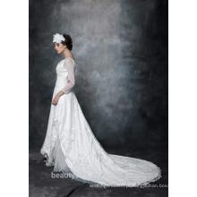 A-line Scoop Neck Satin Sobre Net Com Bordados vestido de noiva Lace With Crystal 3/4 Sleeve Wedding Dress AS29402