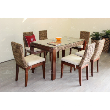 Classical Luxury Design Water Hyacinth Dining Set For Indoor Natural Wicker Furniture