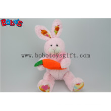 Easter Crafts Cuddle Pink Plush Bunny Animal Toy with Carrot for Kids Bos1160