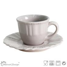 Antique Grey Tea Cup and Saucer