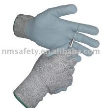 Nmsafety fibra de vidro e nylon revestido espuma nitrílica cortou luvas residente