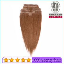 18inch Brown Color 100% Unprocessed Brazilian Human Hair Clip Hair Extension