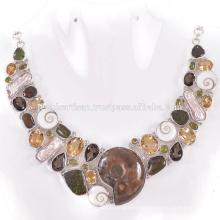 Últimas Ammonita de diseño y multi piedras preciosas 925 collar de plata de ley