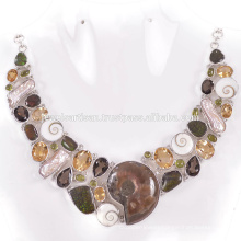 Latest Design Ammonite And Multi Gemstone 925 Sterling Silver Necklace