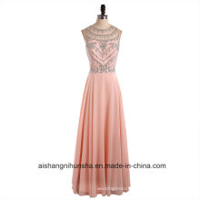 Real Image Beauty Scoop Neck Crystals Chiffon Long Prom Dresses