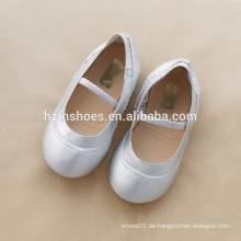 Günstige Preis Kinder Mädchen Schuh elastischen Strap Ballerina Silber Kleid Schuh Partei Schuh