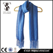 popular new design plain color Ladder yarn knitted scarf