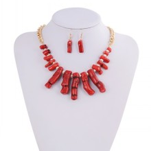 Amazing Big Red Jewelry Set For Bridal Tiara Necklace Earring Set Wedding Favor
