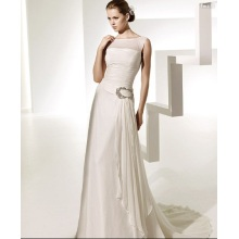 A line Bateau Neck Chapel Train Chiffon Beading Ruffled Wedding Dress