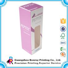 Art paper printing custom small cosmetic box with PVC window