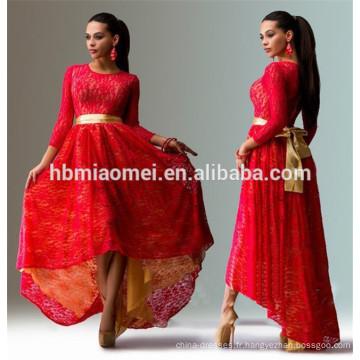 2017 en gros femmes vêtements mode hors épaule genou longueur rose à manches longues en dentelle serrée robe