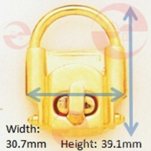 Manija metálica de aleación de zinc Gire la cerradura para uso en bolsa