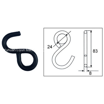 1in Steel S-Hook, Metal Hardware for Cargo Control Ratchet Tie Down Strap