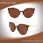 2016 new arrival fashion ladies acetate sunglasses bamboo temple sunglasses