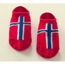 Children Boat Cotton Ankle Socks for Sport with Country Flag