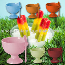 color-glazed ceramic ice cream cup