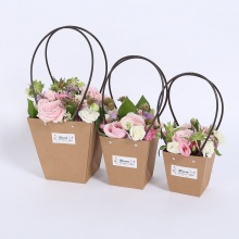 Luxury Brown Kraft Flower Packaging Paper Bag