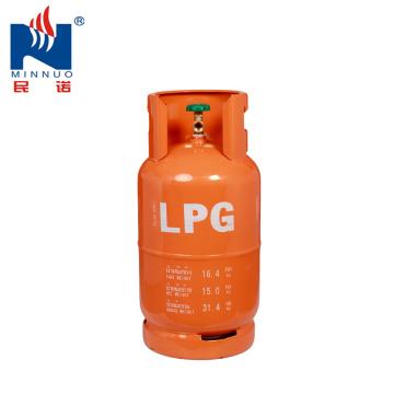 Cylindre d'acier au gaz LPG 15KG, bouteille de gaz