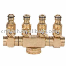 4 Ways hose splitter with valve