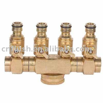 4 Ways hose splitter with valve