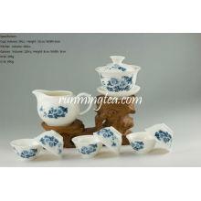 Blaue Pfingstrose Oolong Teeware Set-1 Gaiwan, 1 Pitcher und 6 Cups