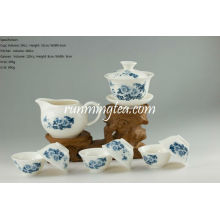 Blue Peony Oolong Teaware Set-1 Gaiwan, 1 Pitcher and 6 Cups
