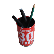 Em forma de rodada personalizado impresso Metal Pen Holder Atacado