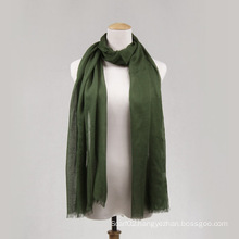 Green Viscose Long Scarf for Women