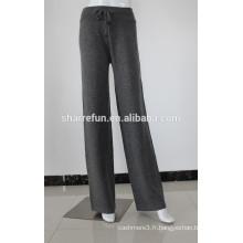 Pantalon 100% cachemire tricoté à plat pour femmes 12gg