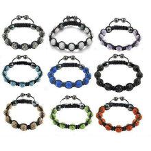 Bolas cristalinas mezcladas de las pulseras de Shamballa del color (9pcs) BR70