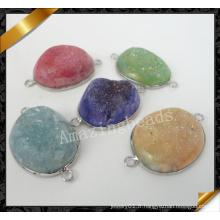 Connecteur de bijoux de mode Irrégulier Druzy Quartz Stone Connector Collier ou Bracelets (YAD008)