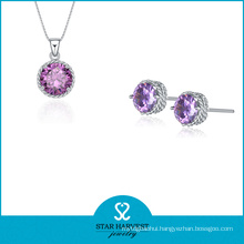 Elegant Crystal 925 Sterling Silver Jewelry Set with CZ (J-0159)
