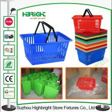 China fábrica plástica de supermercado colorida cesta de la compra