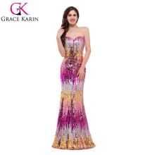 Grace Karin Sexy Señoras Strapless Sweetheart Brillante Sequins Vestidos de noche CL7517-2