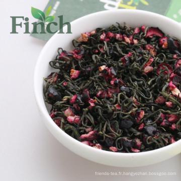 Finch Brand 2016 Le plus nouveau thé vert de myrtille de beauté-conservation, thé mélangé de saveur de myrtille séchée pour le sachet à thé