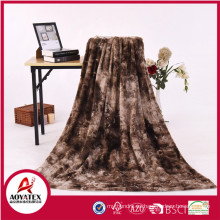 reasonable price polyester brush and print long pile fake fur fabric pv fleece knitted blanket